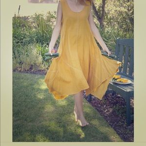 YUVITA Mustard Linen Yellow Dress